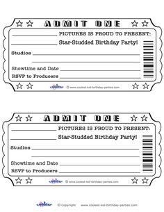 Printable Admit One Invitations Coolest Free Printables Movie Party Ticket Invitation Birthday