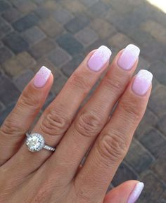 french manicure with ombre and glitters