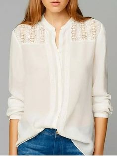 Crew Neck Cotton Plain Blouses