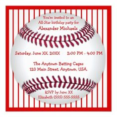 Red and White Pinstripes Baseball Birthday Party Custom Invite