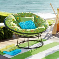 This patio furniture collection from Pier One offers several different seating pieces, and is currently off! Lots of cushion and pillow options sold.patio furniture pier one new… Hanging Papasan Chair, Double Papasan Chair, Papasan Cushion, Garden Furniture Sets, Bench Furniture, Kids Furniture, Cottage Furniture, Outdoor Furniture, Round Chair
