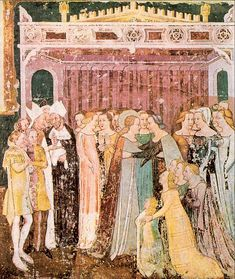 Departure of St. Ursula by Tommaso da Modena,1355-58. Detail of fresco from the cycle in the choir of the Augustinian anchorite church of Santa Margherita. Treviso, Museo Civico.