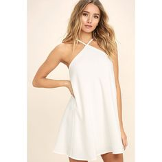 High Gear White Shift Dress ($44) ❤ liked on Polyvore featuring dresses, white, lulus dress, white dress, keyhole halter dress, white shift dress and halter-neck tops