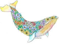 Items similar to Baleen flower whale colourful poster prints gift handmade pretty decor animal family painting watercolour illustration cute decoration gift on Etsy Whale Drawing, Baleen Whales, Family Painting, Watercolor Illustration, Coloring Books, Poster Prints, Handmade Gifts, Tattos, Drawings