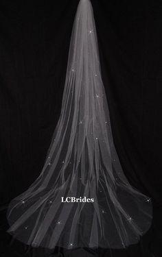 Sparkling Swarovski Crystal Cathedral Wedding Veil