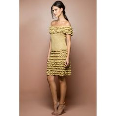 US$ 2,990.00 - Gold Scarlette Crochet Dress - Vanessa Montoro USA - vanessamontorolojausa