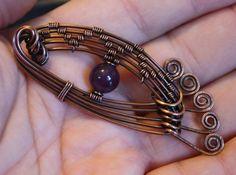Amethyst & Oxidized Copper, Artistic Eye Pendant w Hammered Lashes 20.00 Shipped