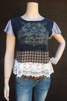 REVIVAL Boho Grunge Lace TShirt, Skater Girl, Junk Gypsy Style