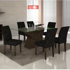 Conjunto Sala de Jantar Mesa Malta 1,60m e 6 Cadeiras Grécia Rufato Wengué/Carvalho/Imperial Preto