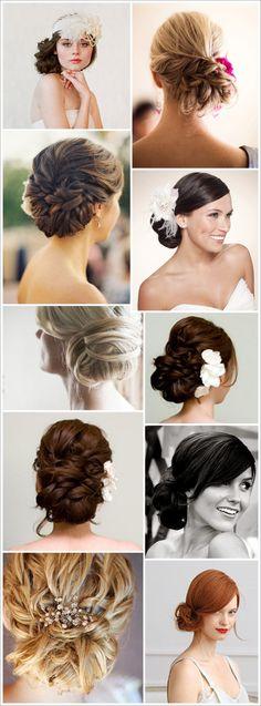 Various updo wedding formal hairstyle pins romantic hair.  prom bridesmaids bridal style jewel short hair romantic swept side bun twist curl