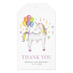 Colorful Watercolor Rainbow Unicorn Birthday Gift Tags