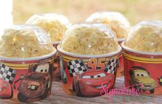 Disney Cars Birthday Party-Ice Cream Cups-Mini Popcorn Favor Box-Set of 8 - Voiture Car Themed Parties, Cars Birthday Parties, Birthday Party Favors, Birthday Ideas, Pixar Cars Birthday, Disney Birthday, Boy Birthday, Hot Wheels, Lightning Mcqueen Party