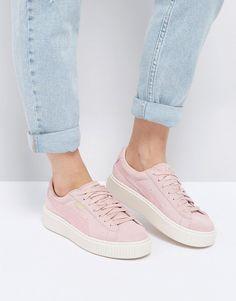 Puma Suede Satin Platform Sneakers in Pink - Pink