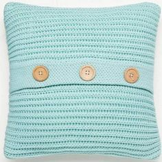 Catherine Lansfied Chunky Knit Cushion Cover in Duck Egg Blue