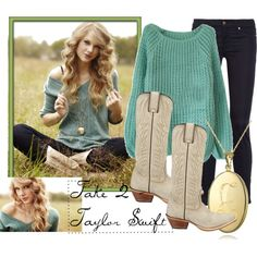 white boots, skinny jeans, and a turquoise sweater