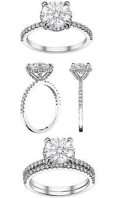 Engagement ring pave prongs - I love the thin band with the thin wedding band that is a perfect fit