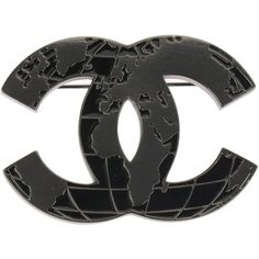 Pre-owned Chanel Around The World Globe CC Logo Brooch (2.945 RON) ❤ liked on Polyvore featuring jewelry, brooches, logo jewelry, pre owned jewelry, chanel, chanel jewelry and chanel broach
