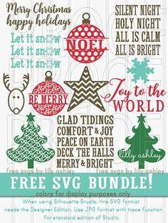Free Christmas SVG bundle set of 12 cut files!!