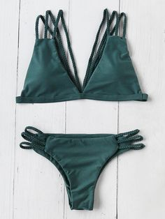 Shop Braided Detail Strappy Back Triangle Bikini Set online. SheIn offers Braided Detail Strappy Back Triangle Bikini Set & more to fit your fashionable needs.