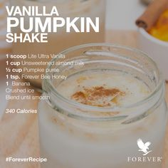 Vanilla Pumpkin Protein Shake Recipe using Forever Living Products Lite Ultra Vanilla Protein Powder and Forever Bee Honey #ForeverRecipe