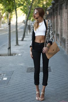 Camel bag and shoes - Black denim - White crop top - Black and white print vest - The Crazy Place That is My Head
