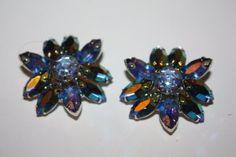 Vintage Earrings Blue AB Rhinestone 1950s Jewelry by patwatty, $10.00