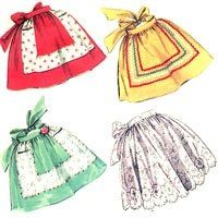Free easy retro vintage apron sewing patterns  Girly apron with frills