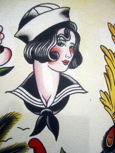 Vintage Bonnie Girl Tattoo Flash   KYSA #ink #flash #tattoo
