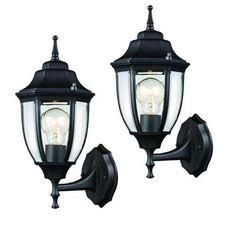Hampton Bay Outdoor Black Wall Lantern (2-Pack)-HD-4470T BK - The Home Depot