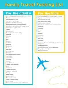 Family Travel Downloadable Packing List
