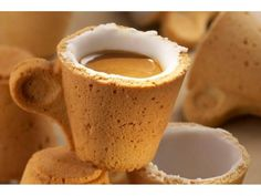 Edible coffee cookie cup... its made out of a pastry and then lined in an icing sugar to make it waterproof and sweeten your coffee at the same time!