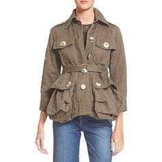 Marc Jacobs Cotton Twill Military Jacket ($498) ❤ liked on Polyvore featuring outerwear, jackets, sully green, military fashion, field jacket, pocket jacket, military inspired jacket and oversized military jacket