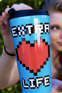 Nerd alert: get an extra life along with your shots of espresso in this super-fun 8-bit pixel mug as designed by Pai-Thagoras on Redbubble.