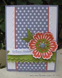 Stampin Up Card; Mixed Bunch; Love how she used the Adorning Accent folder.