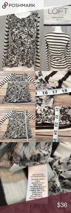 Size Small LOFT Floral Long Sleeve Basic Top • Measurements are in photos  • Material tag is in photos • Normal wash wear, no flaws • Floral Front, Striped Sleeves and back  • Long Sleeves  • classic Neckline  E4/65  Thank you for shopping my closet! LOFT Tops Tees - Long Sleeve
