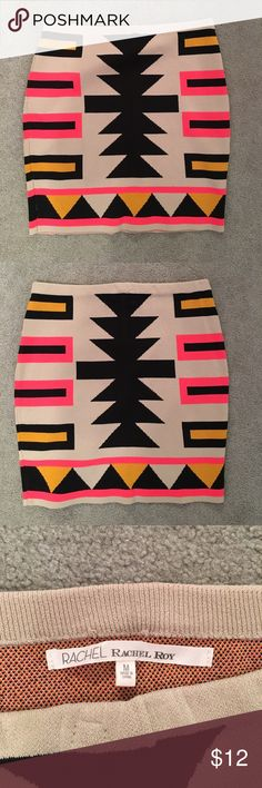 Rachel Roy skirt!! Aztec print. Worn only once. In great shape! Very stretchy material most likely is body hugging. Size M. Pictures show front and back of skirt they are just identical print RACHEL Rachel Roy Skirts Mini