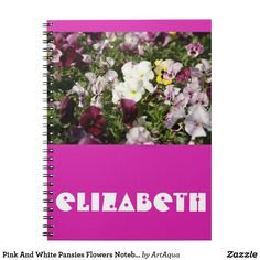 Pink And White Pansies Flowers Notebook with Name