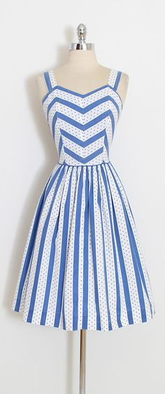 ➳ vintage 1950s dress * white blue cotton * polka dots, chevron, stripes * metal back zipper condition | excellent fits like small length 38 bodice length 16 bust 36 waist 28 ➳ shop http://www.etsy.com/shop/millstreetvintage?ref=si_shop ➳ shop policies http://www.etsy.com/shop/millstreetvintage/policy twitter | MillStVintage facebook | millstreetvintage instagram | millstreetvintage 5901/1708