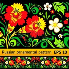 Vector floral ornamental pattern in traditional Russian style