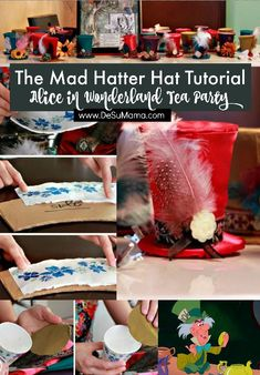 Hosting a Mad Hatter Alice in Wonderland Tea Party? Then this Mad Hatter Hat tutorial using paper and cardboard to make adorable mini top hats, which you can attach to hair clips or headbands, is for you! An easy craft that promises big impact, these DIY tea party hats are super adorable.
