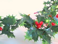 Vintage Plastic Holly Garland with Christmas Holiday Lights