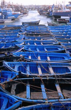 'Fishing boats in port of Essaouira.' by Lonely Planet Images on artflakes.com ... I'll take the blue one, please.