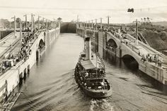 1st boat through the Panama Canal - a tugboat named 'Gatun', September 26, 1913