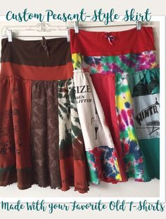 Custom Peasant-Style Skirt Upcycled from YOUR favorite T-shirts! - Custom Peasant-Style Skirt Upcycled from YOUR favorite T-shirts! Redo Clothes, Sewing Clothes, Clothes Refashion, Refashioned Clothes, Couture Fashion, Diy Fashion, Punk Fashion, Tea Length Skirt, Old Shirts