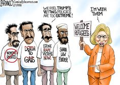 Trump wants tougher vetting policies for people coming into the U.S. from countries that don't hold our values, but Hillary disagrees.