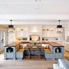 From the ceiling to the floor I love it, cozy. The #woodpaneling and support beams look good.    #KitchenDecor #Kitchen #interiordesign #remodel
