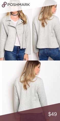 ✨Coming Soon✨Gray Moto Jacket Coming just in time for Christmas...super Chic Gray Moto Jacket!  A must have for your wardrobe!  Easily dressed down with jeans and flats, or dressed up with heels for a night out!  80% Polyester 20% Cotton. Jackets & Coats