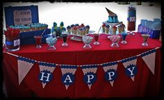 Happy Birthday Pennant Banner Red White and Blue by PartyGlitter on Etsy  From Reuben's 1st Birthday