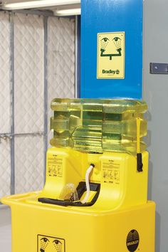 The On-Site Portable Gravity-Fed Eyewash uses less space while delivering ANSI required 15 minute flush.