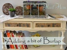 10 easy projects with mod podge, crafts, decoupage, A few months ago I added some burlap ribbon to a plain side table using Mod Podge It was a great way to bring a bit of rustic to my cottage decor